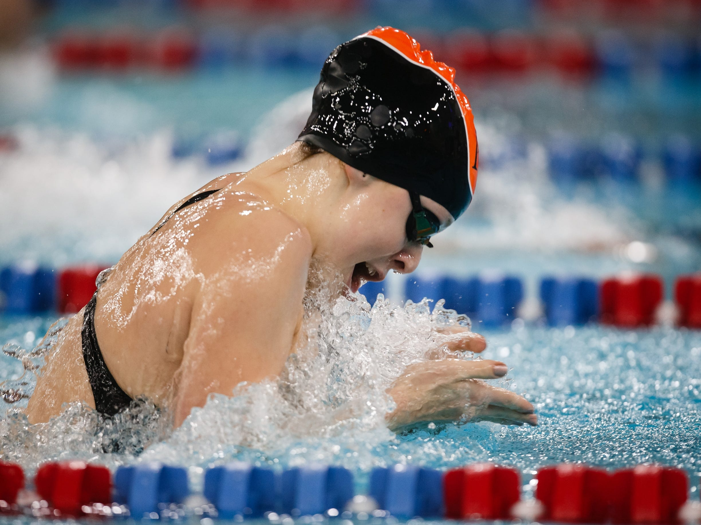 Ames' Molly Winer competes in the 100 yard breaststroke at the Iowa girls state swimming meet on Saturday, Nov. 3, 2018, in Marshalltown.