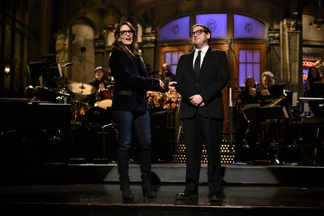 """Tina Fey and host Jonah Hill during the opening monologue for """"Saturday Night Live"""" in Studio 8H on Saturday, Nov. 3, 2018."""