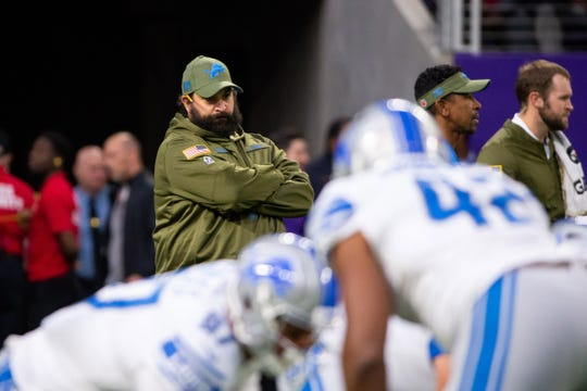 Lions coach Matt Patricia watches his team before the game against the Vikings on Sunday, Nov. 4, 2018 in Minneapolis.