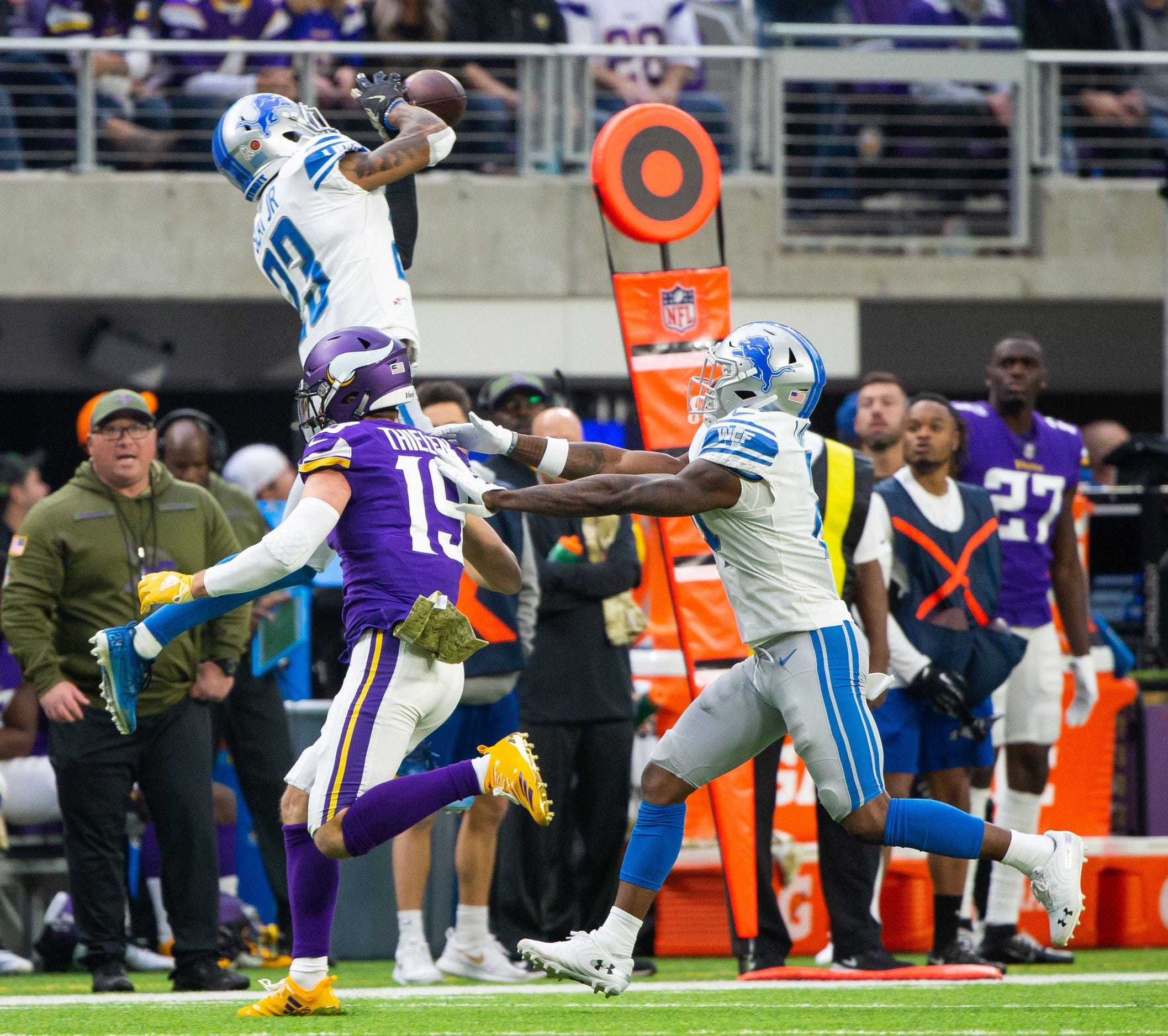 Lions defensive back Darius Slay intercepts Vikings quarterback Kirk Cousins in the second quarter Sunday, Nov. 4, 2018, in Minneapolis.