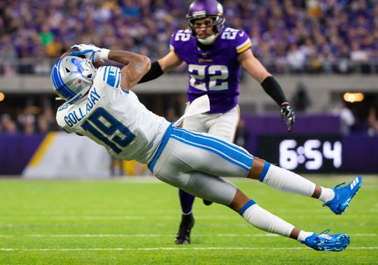 Lions wide receiver Kenny Golladay catches a pass in the second quarter on Sunday, Nov. 4, 2018, in Minneapolis.