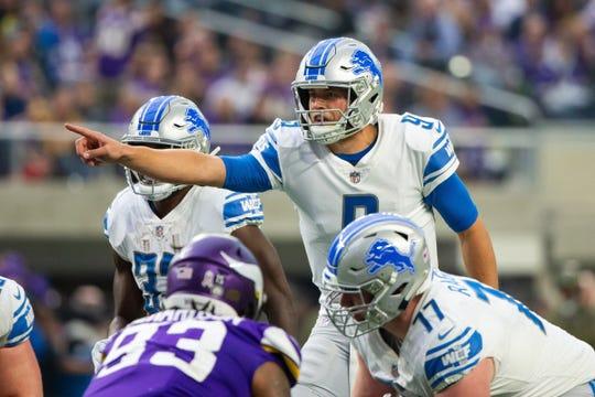 Lions quarterback Matthew Stafford in the first quarter on Sunday, Nov. 4, 2018, in Minneapolis.