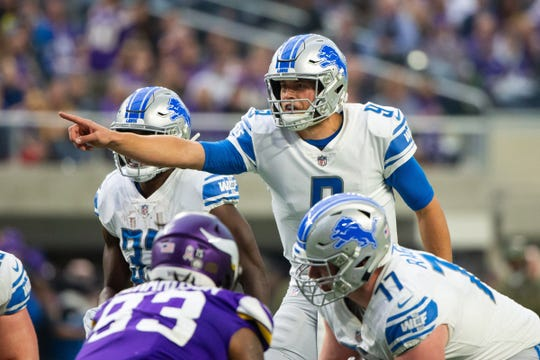 Lions quarterback Matthew Stafford in the first quarter on Sunday, Nov. 4, 2018, in Minneapolis.