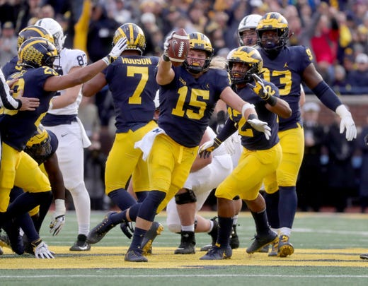 With Michigan's dominant win over Penn State, and Alabama handling LSU, is that enough for the Wolverines to jump into the top four of the Free Press' college football top 25? Also, did Michigan State sneak back in? Dropping out this week are Virginia, Utah, Northwestern and Texas A&M. Receiving votes are Wisconsin and Oregon.