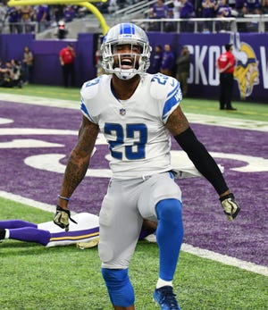 Darius Slay celebrates breaking up a long pass down the sideline to Vikings' Aldrick Robinson in the third quarter last week.
