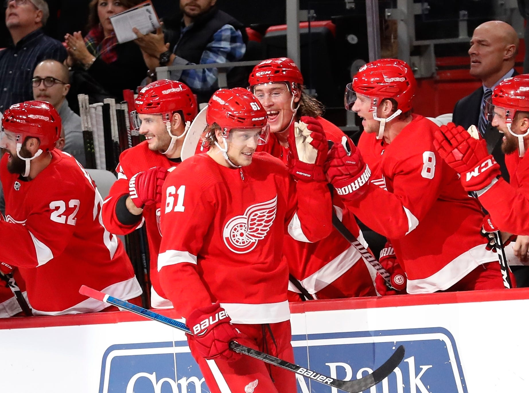 Detroit Red Wings left wing Jacob de la Rose (61) is congratulated after his first goal of the season during the first period of an NHL hockey game against the Edmonton Oilers, Saturday, Nov. 3, 2018, in Detroit. (AP Photo/Carlos Osorio)