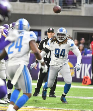 Lions' Ziggy Ansah played for the first time since the season opener on Sunday.