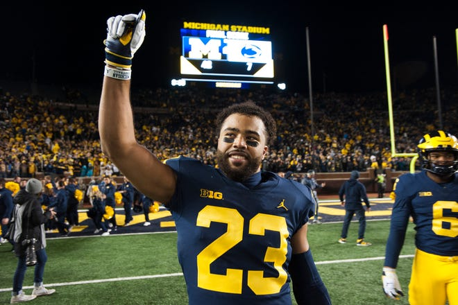 Michigan defensive captain Tyree Kinnel savors the Wolverines' 42-7 victory over Penn State.