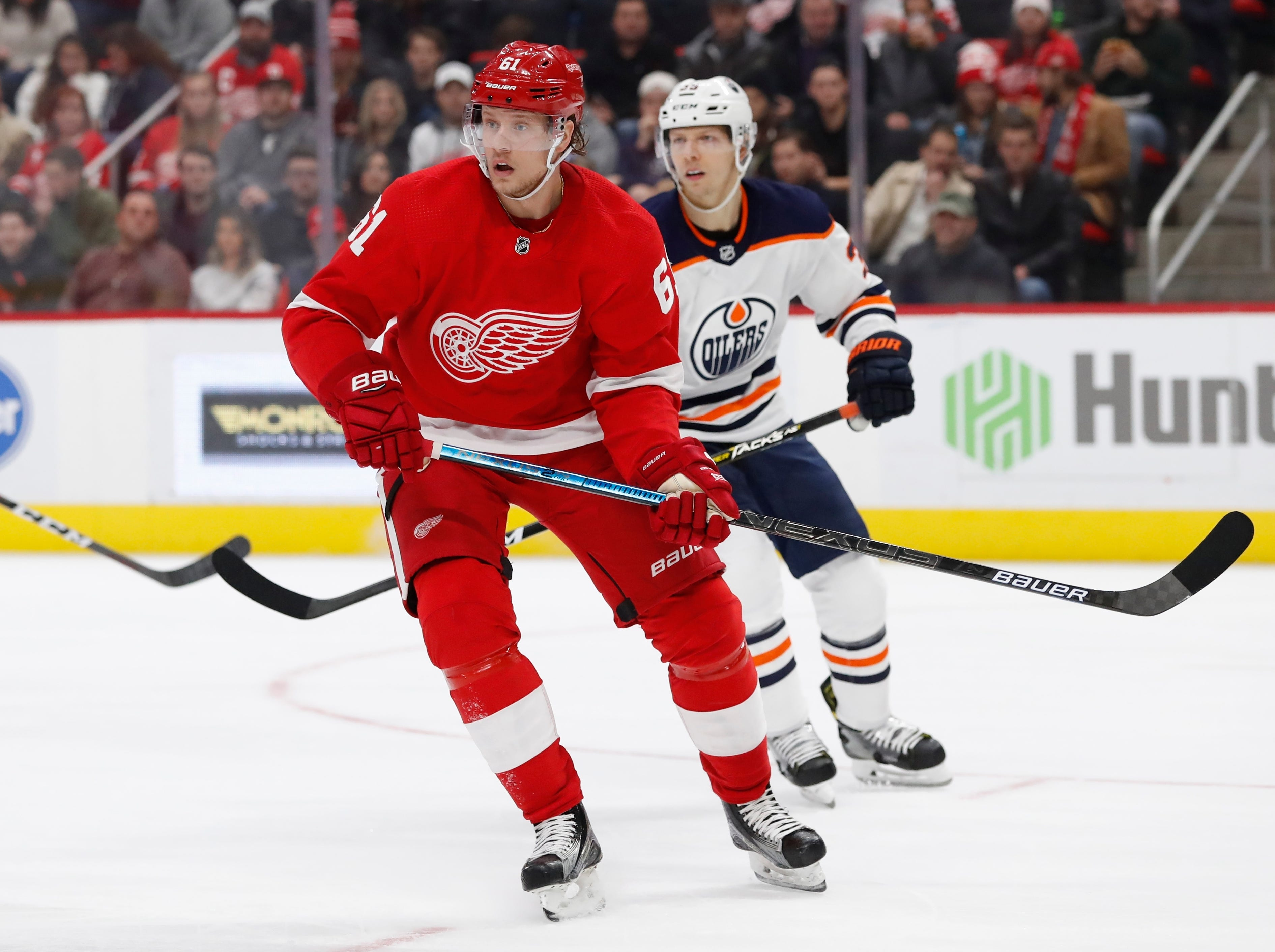 Detroit Red Wings left wing Jacob de la Rose (61) skates during the second period of an NHL hockey game against the Edmonton Oilers, Saturday, Nov. 3, 2018, in Detroit. (AP Photo/Carlos Osorio)