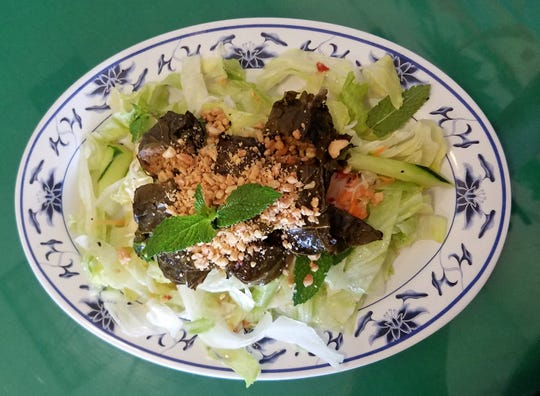 Stuffed grilled grape leaves from Vietnamese Cuisine on Vogel Road.