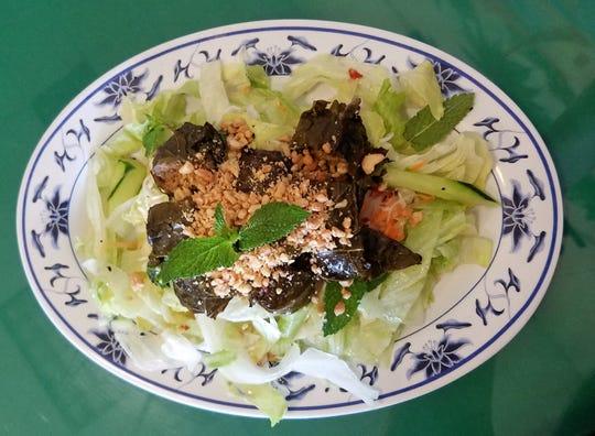 Stuffed grilled grape leaves from Vietnamese Cuisine on Vogel Road.