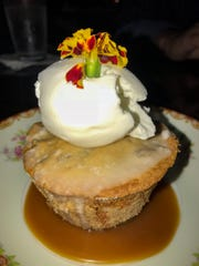 Pecan pound cake, bourbon-buttermilk glaze and caramel? Yes indeed.