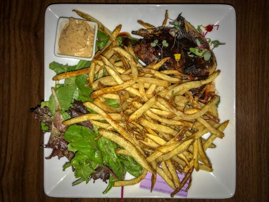 Fries, leafy greens and portobellos. An odd, but satisfying combination.