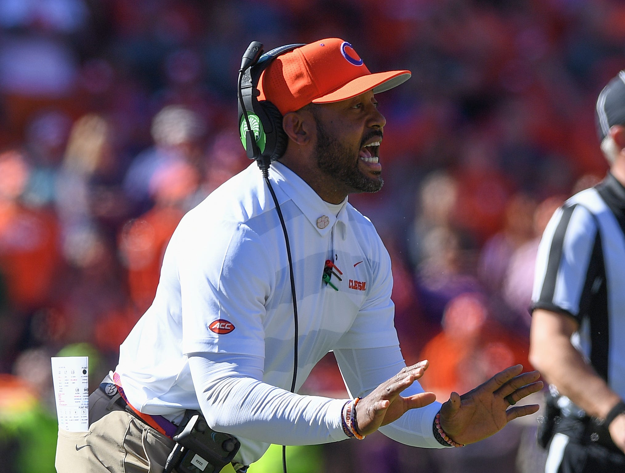 Clemson defensive backs coach Mike Reed coaches against Louisville during the 2nd quarter Saturday, November 3, 2018 at Clemson's Memorial Stadium.