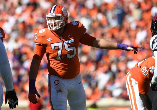 Clemson offensive lineman Mitch Hyatt (75) plays against Louisville during the 2nd quarter Saturday, November 3, 2018 at Clemson's Memorial Stadium.
