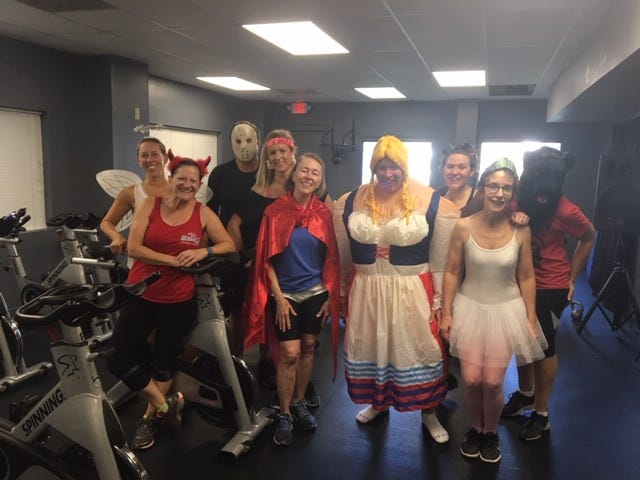 My spin class, dressed up for Halloween--kids at heart.