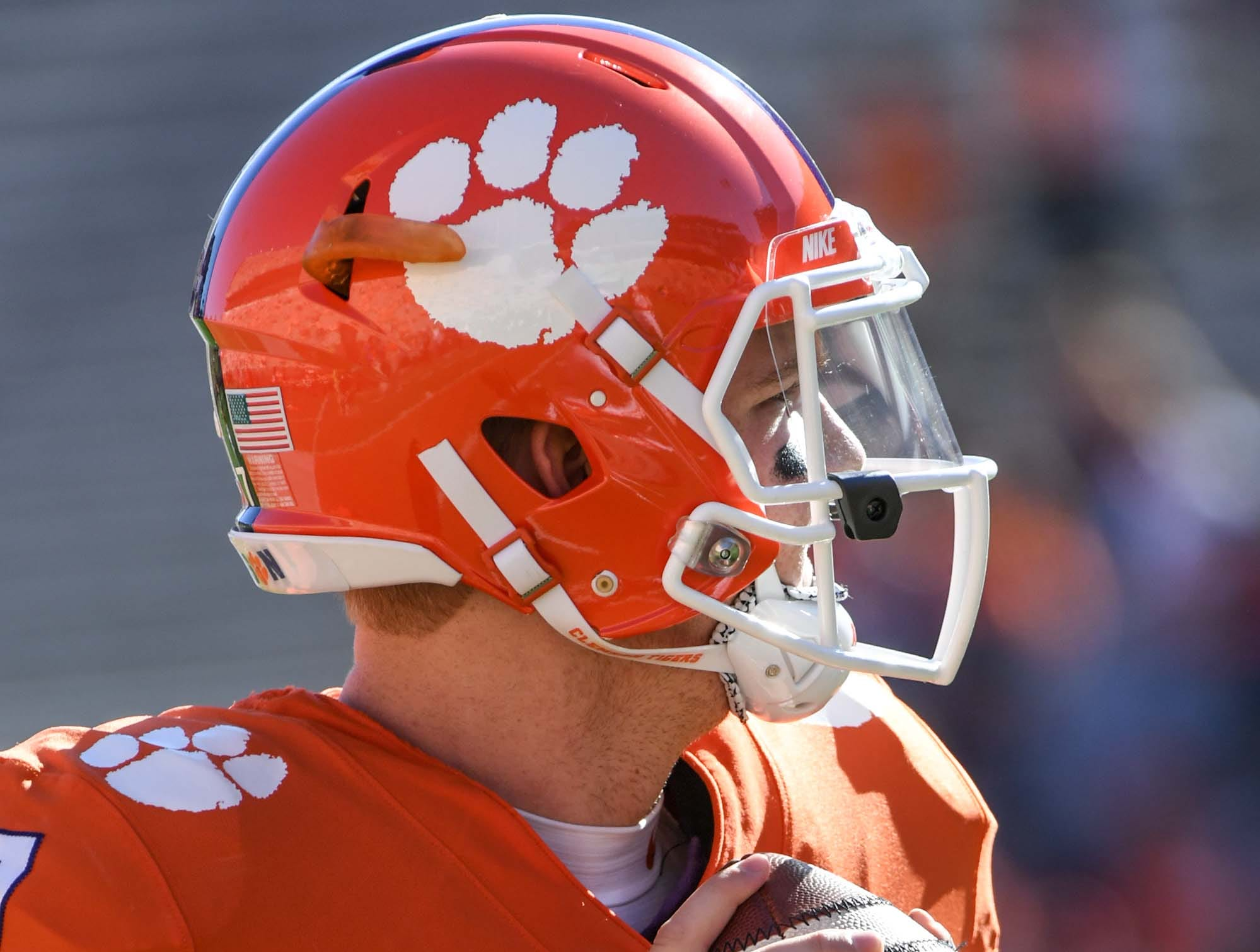 Clemson quarterback Chase Brice (7) warms before the Louisville game in Memorial Stadium on Saturday, November 3, 2018.