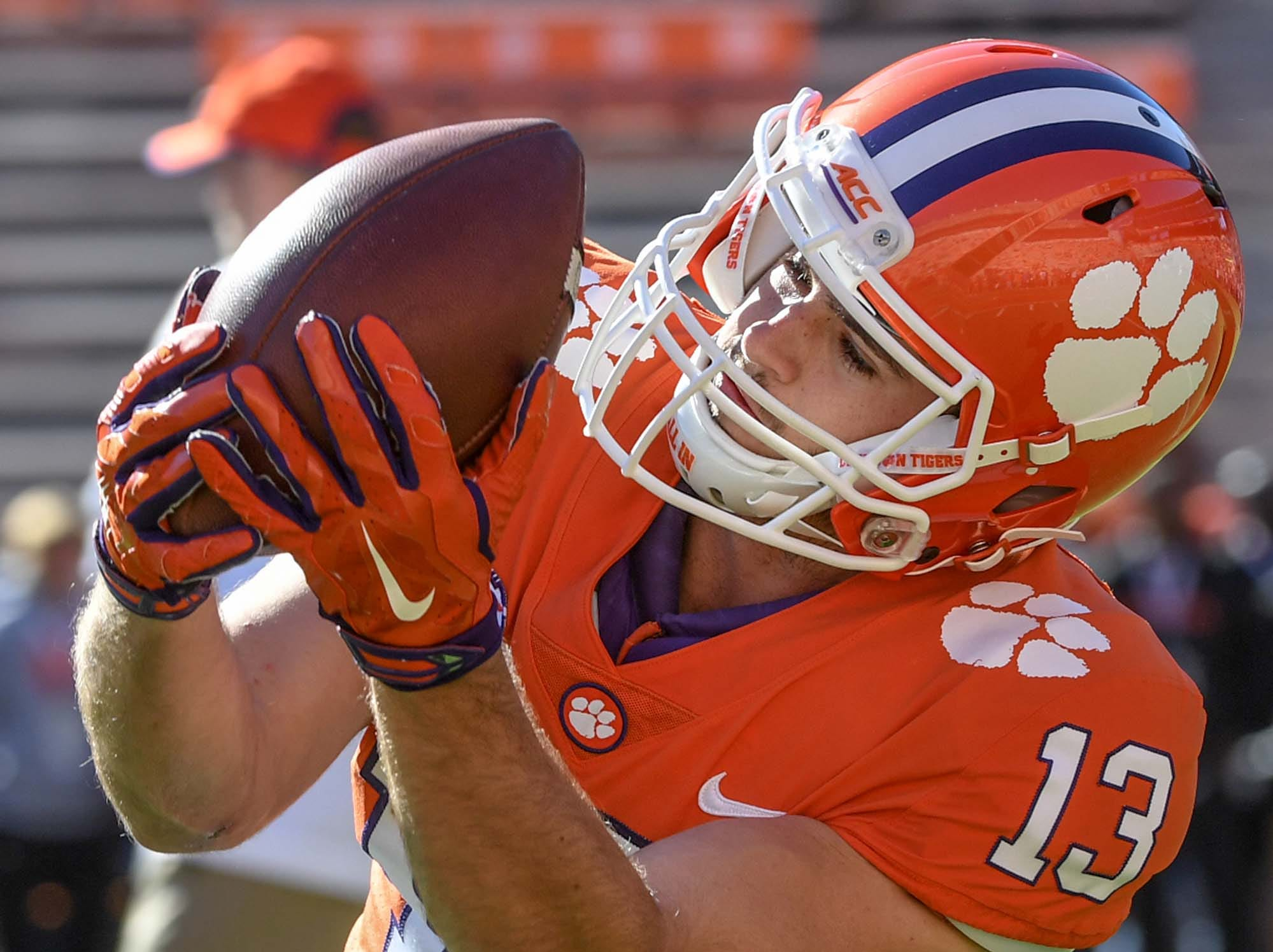 Clemson wide receiver Hunter Renfrow (13) warms before the Louisville game in Memorial Stadium on Saturday, November 3, 2018.