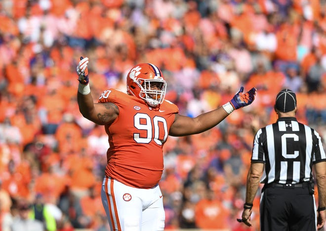 Clemson defensive lineman Dexter Lawrence (90) during the 2nd quarter Saturday, November 3, 2018 at Clemson's Memorial Stadium.