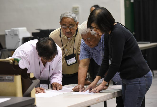 Guam Election Commission board members study sample ballots during an election test at the University of Guam Calvo Field House, Nov. 4, 2018.