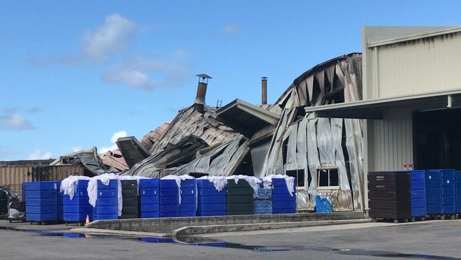 The remnants of the Pacific Laundry facility in Harmon, which was ravaged by an early morning fire on Nov. 5, 2018.