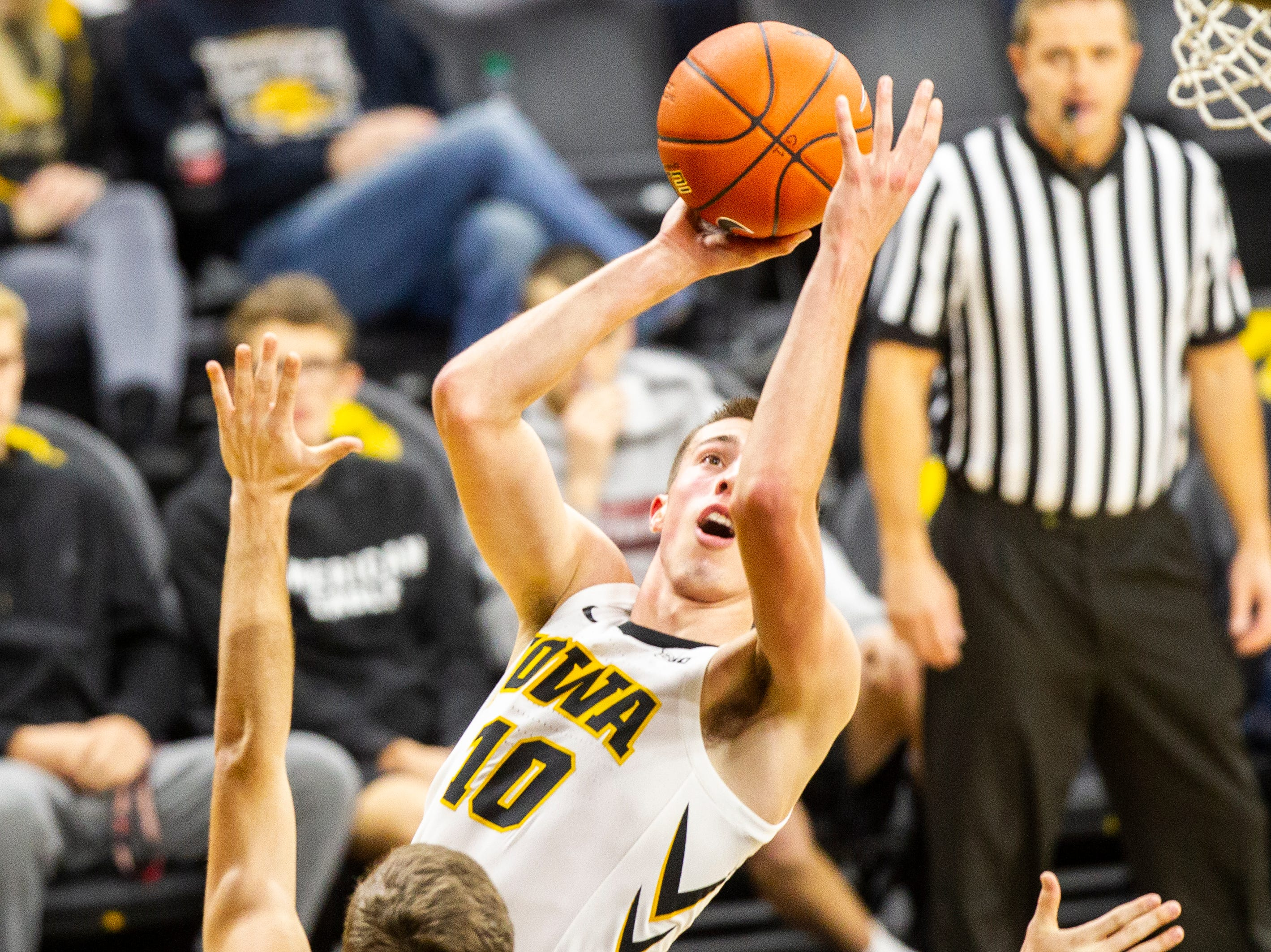 Iowa guard Joe Wieskamp (10) shoots a basket during a men's basketball exhibition game on Sunday, Nov. 4, 2018, at Carver-Hawkeye Arena in Iowa City.