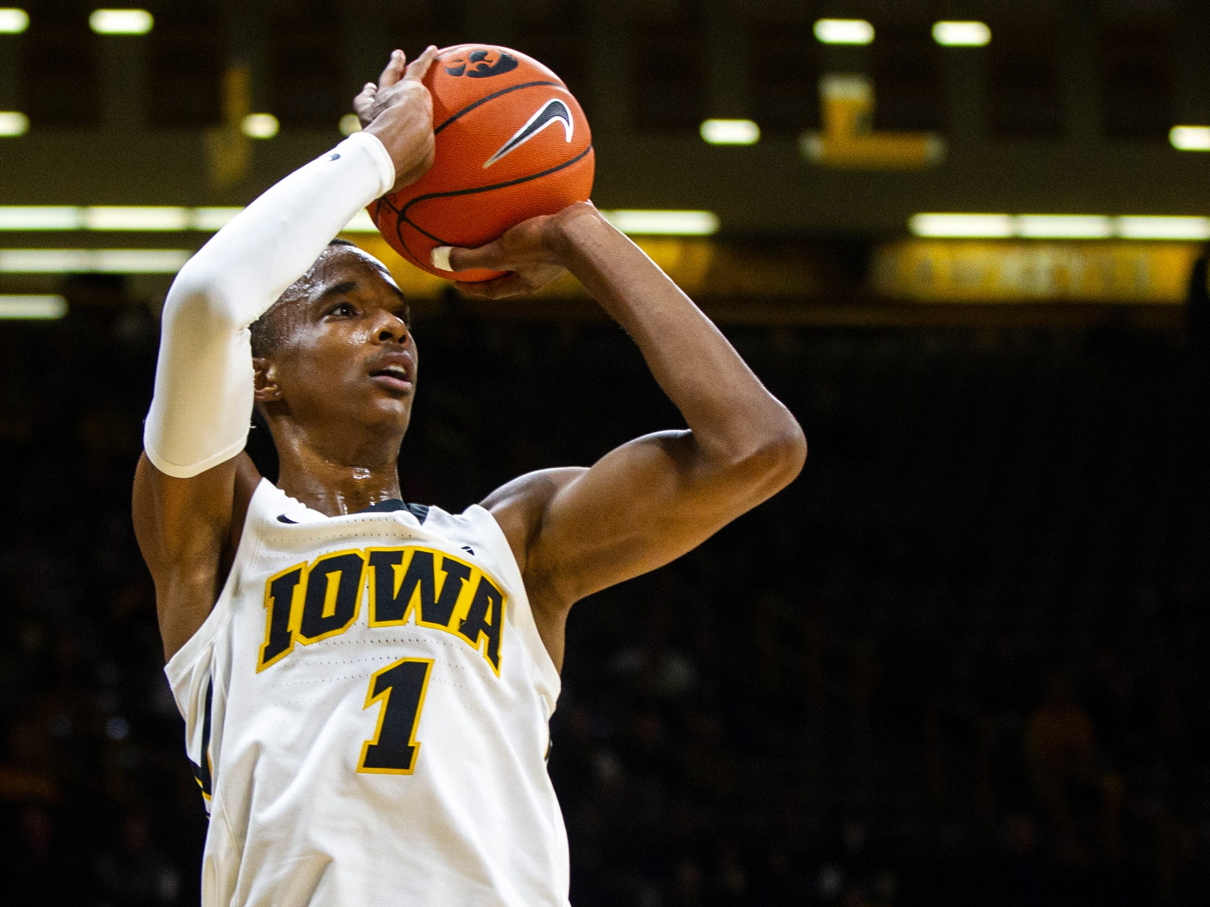 Iowa guard Maishe Dailey (1) shoots during a men's basketball exhibition game on Sunday, Nov. 4, 2018, at Carver-Hawkeye Arena in Iowa City.