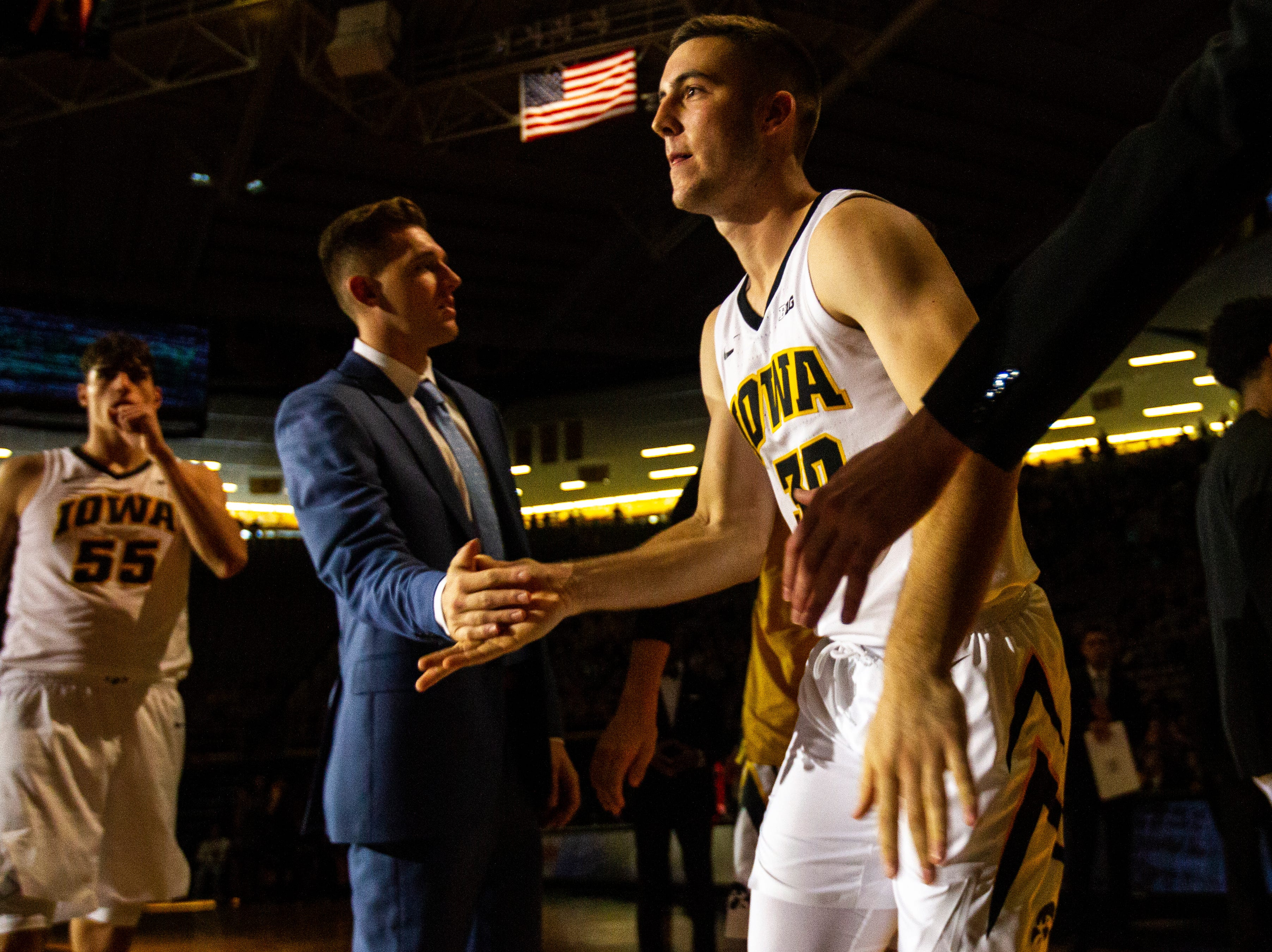 Iowa guard Connor McCaffery (30) is introduced before a men's basketball exhibition game on Sunday, Nov. 4, 2018, at Carver-Hawkeye Arena in Iowa City.