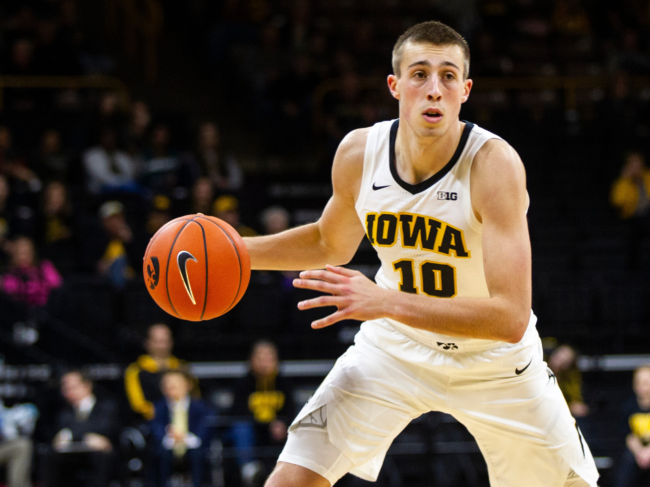 Iowa guard Joe Wieskamp (10) drives to the hoop during a men's basketball exhibition game on Sunday, Nov. 4, 2018, at Carver-Hawkeye Arena in Iowa City.