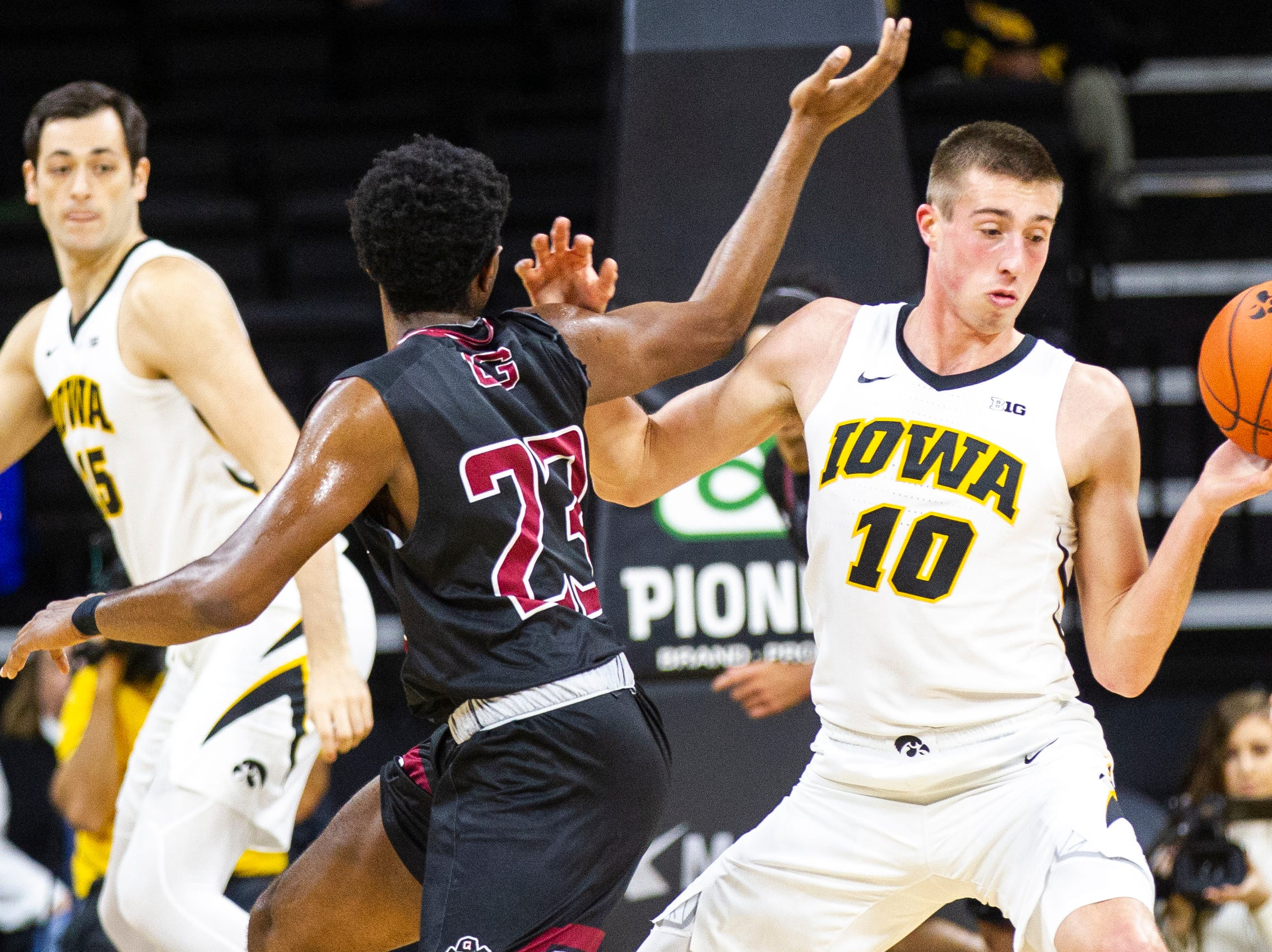 Iowa guard Joe Wieskamp (10) gets a defensive steal during a men's basketball exhibition game on Sunday, Nov. 4, 2018, at Carver-Hawkeye Arena in Iowa City.