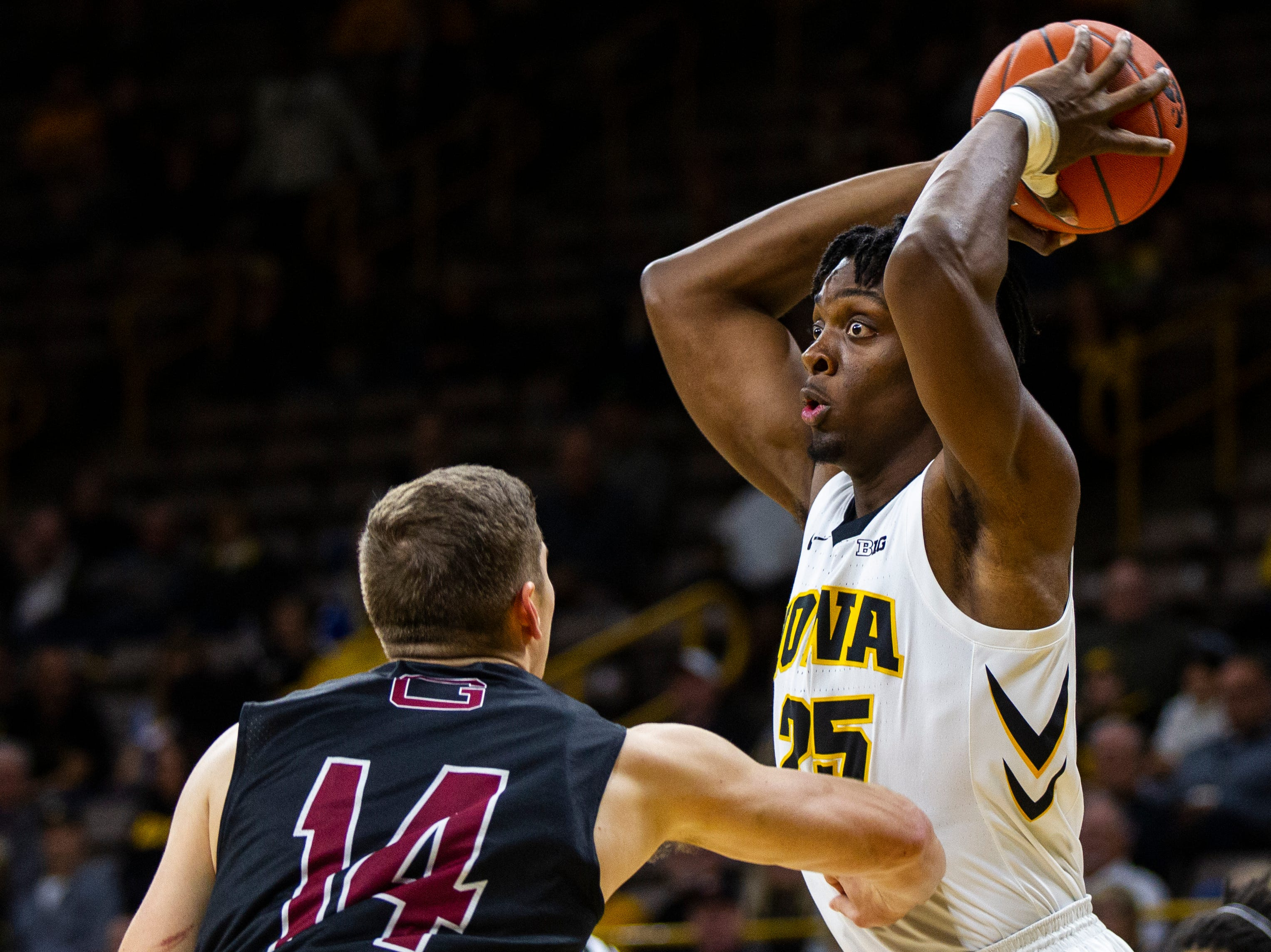 Iowa forward Tyler Cook (25) looks to shoot during men's basketball exhibition game on Sunday, Nov. 4, 2018, at Carver-Hawkeye Arena in Iowa City.