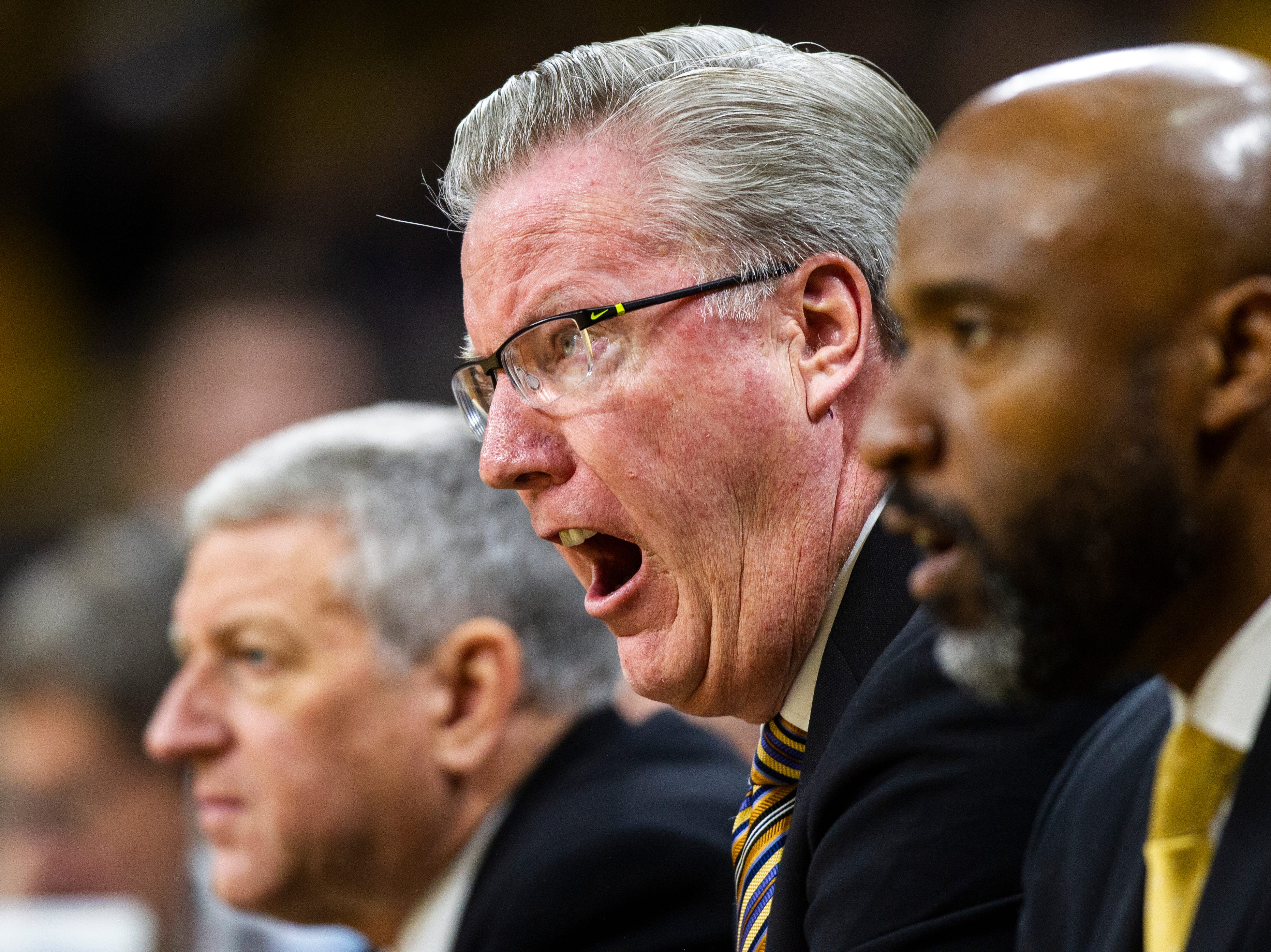 Iowa men's basketball head coach Fran McCaffery calls out to players during a men's basketball exhibition game on Sunday, Nov. 4, 2018, at Carver-Hawkeye Arena in Iowa City.