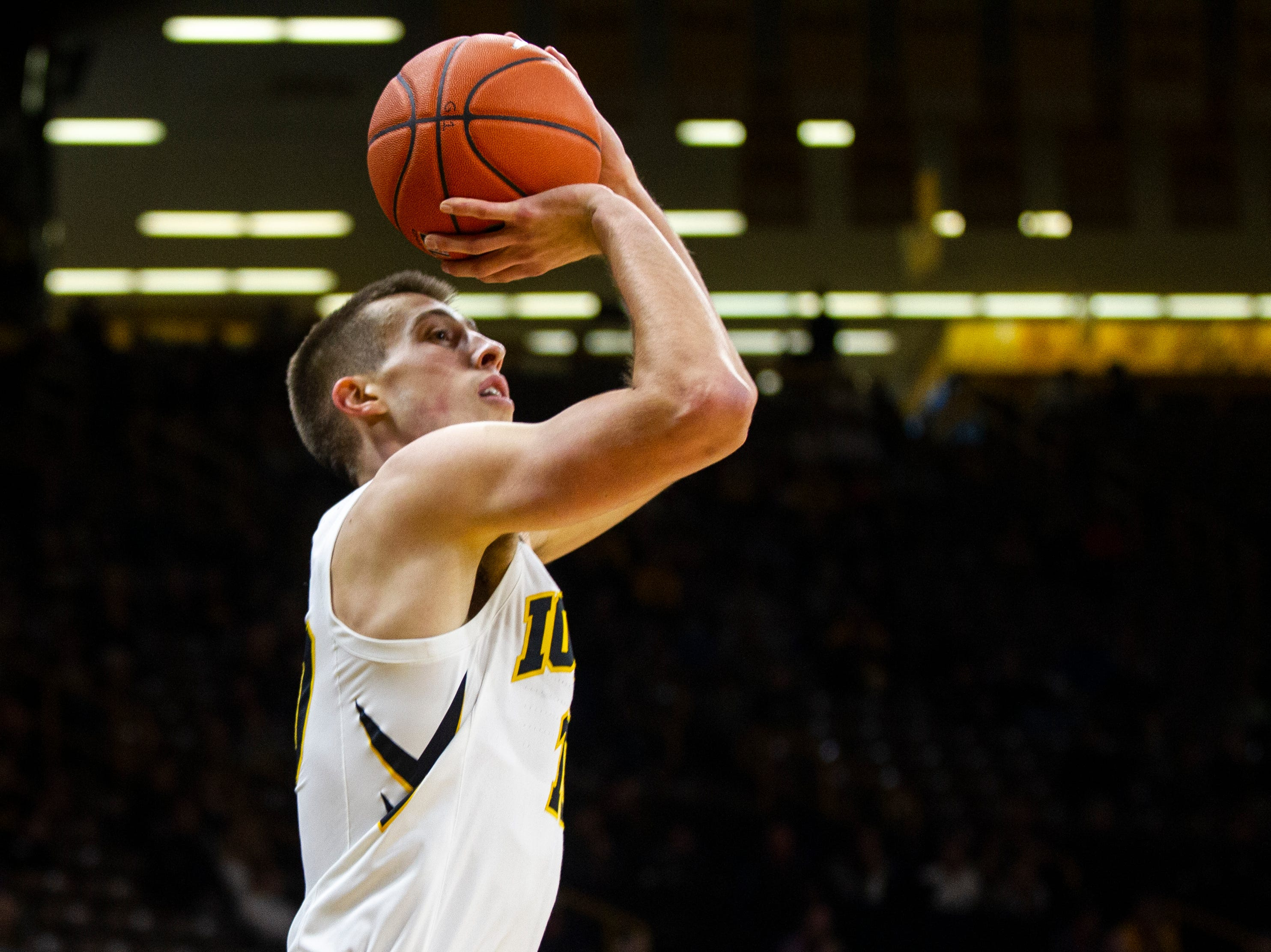 Iowa guard Joe Wieskamp (10) shoots during a men's basketball exhibition game on Sunday, Nov. 4, 2018, at Carver-Hawkeye Arena in Iowa City.
