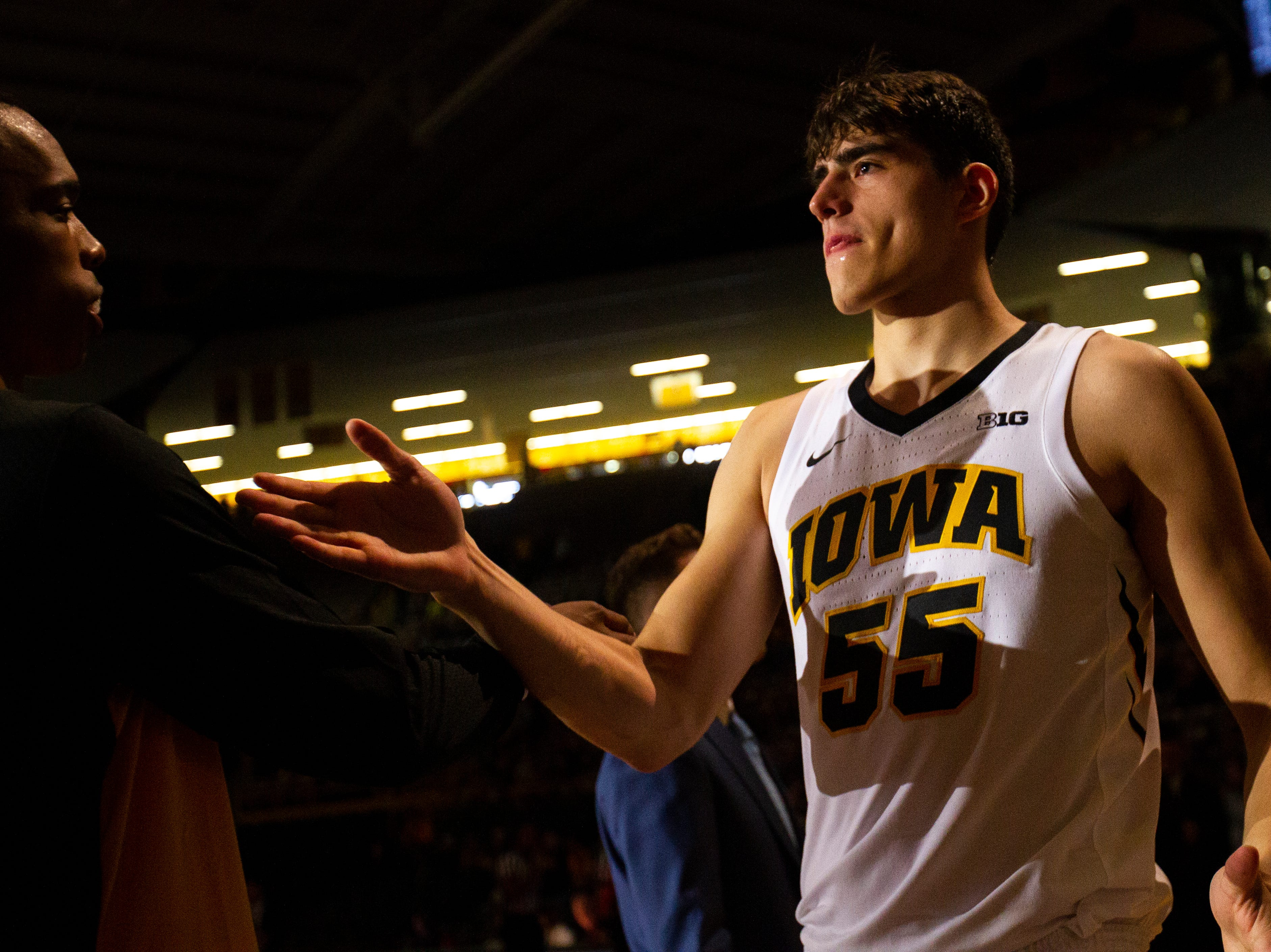 Iowa forward Luka Garza (55) is introduced before a men's basketball exhibition game on Sunday, Nov. 4, 2018, at Carver-Hawkeye Arena in Iowa City.