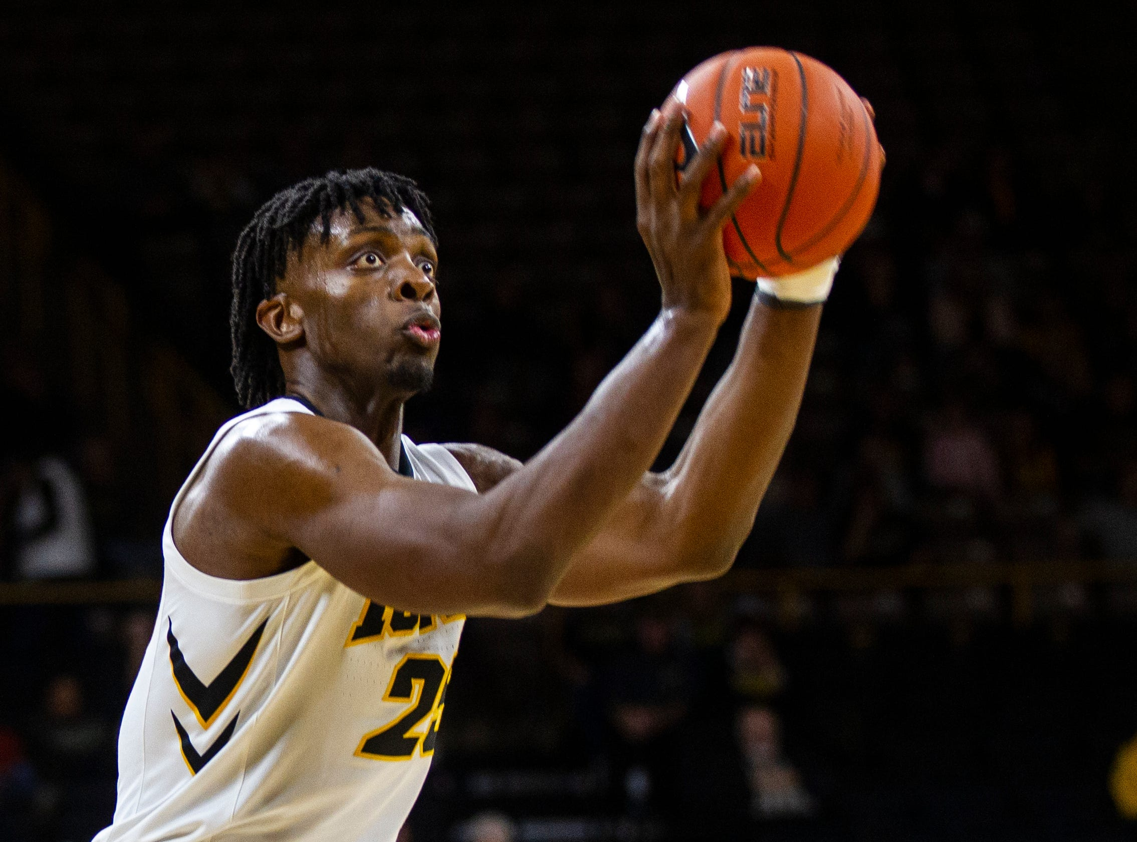 Iowa forward Tyler Cook (25) shoots during a men's basketball exhibition game on Sunday, Nov. 4, 2018, at Carver-Hawkeye Arena in Iowa City.