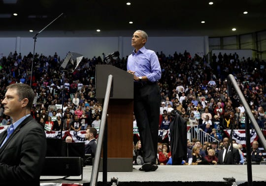 Former President Barack Obama speaks to Democratic supporters at Genesis Convention Center, Sunday, Nov. 4, 2018, in Gary, Ind. Obama rallied Democrats on behalf of Sen. Joe Donnelly, D-Ind., who faces a stiff challenge from Republican businessman Mike Braun. (AP Photo/Nam Y. Huh)