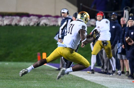 Notre Dame wide receiver Miles Boykin (81) made this catch against the Northwestern Wildcats during a game at Ryan Field.