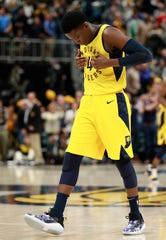 Indiana Pacers guard Victor Oladipo reacts after hitting a late shot to put his team ahead during an NBA basketball game against the Boston Celtics, on Saturday in Indianpolis. Indiana won 102-101.