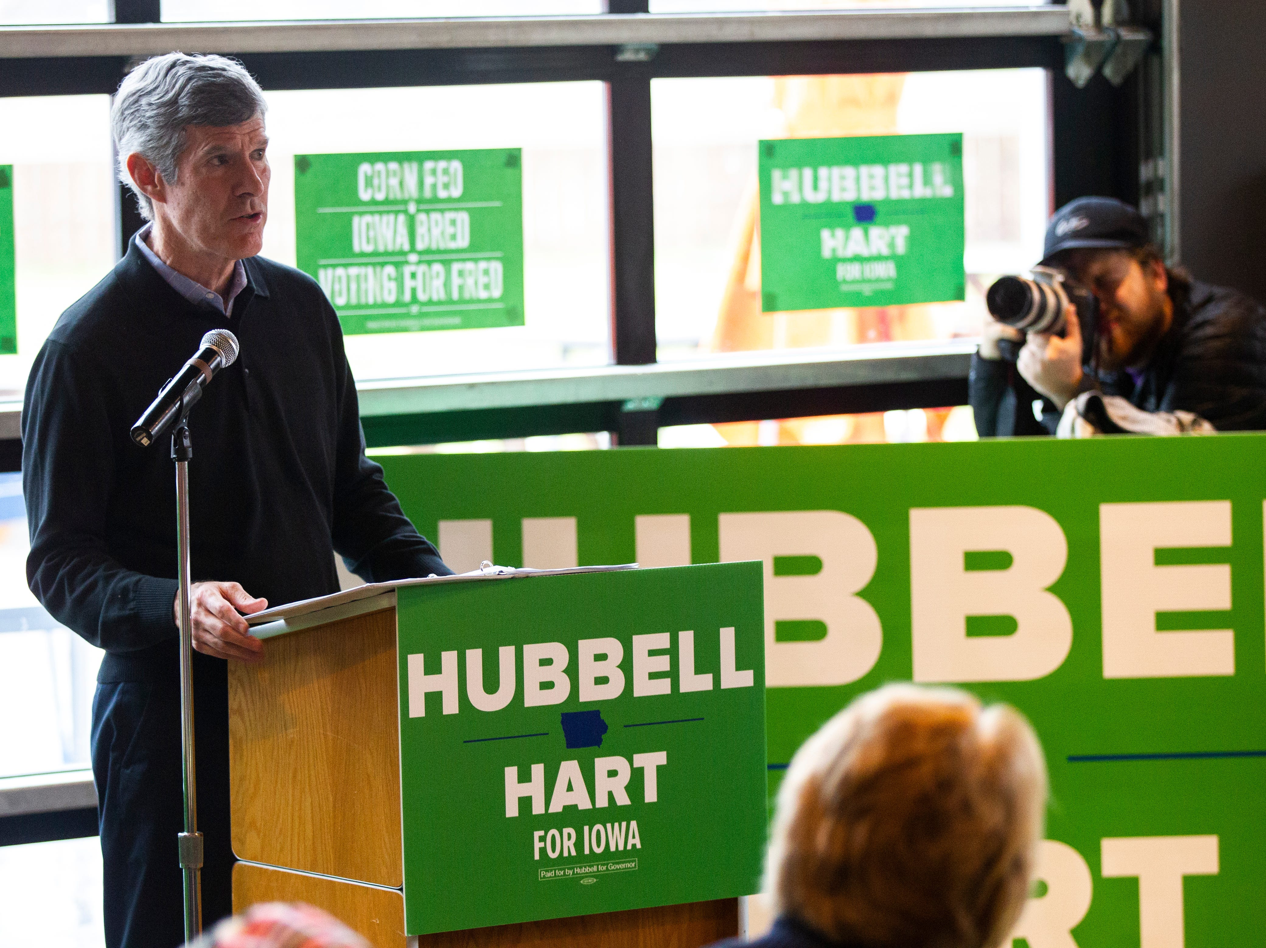 Fred Hubbell, Iowa Democratic candidate for governor, speaks during a rally on Sunday, Nov. 4, 2018, at Big Grove Brewery in Iowa City.