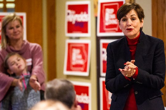Iowa Gov. Kim Reynolds speaks to supporters on Sunday, Nov. 4, 2018, at Brown Deer Golf Club in Coralville, Iowa.