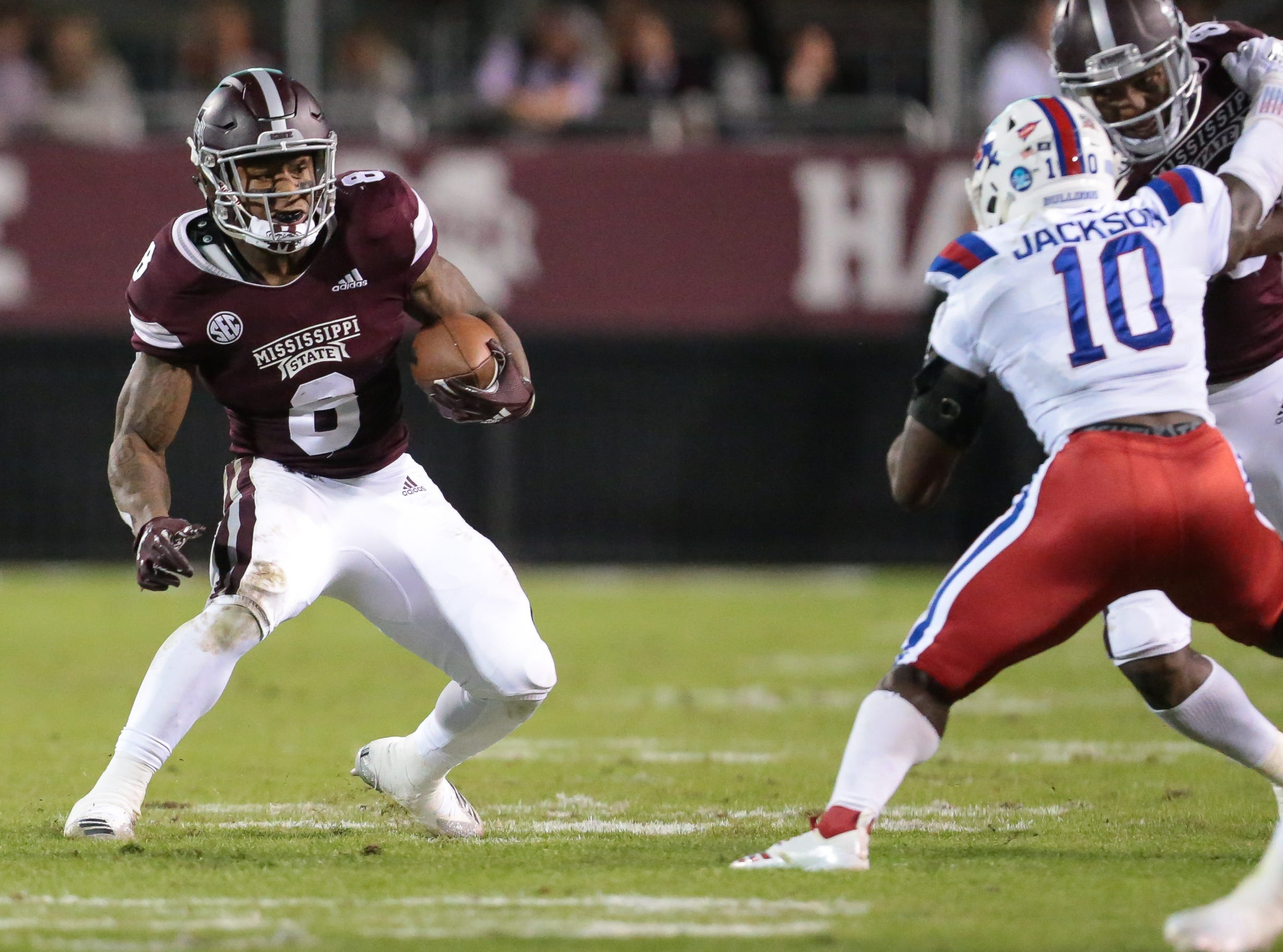 Mississippi State's Kylin Hill (8) looks for running room in the second quarter. Mississippi State and Louisiana Tech played in a college football game on Saturday, November 3, 2018, in Starkville. Photo by Keith Warren/Madatory Photo Credit