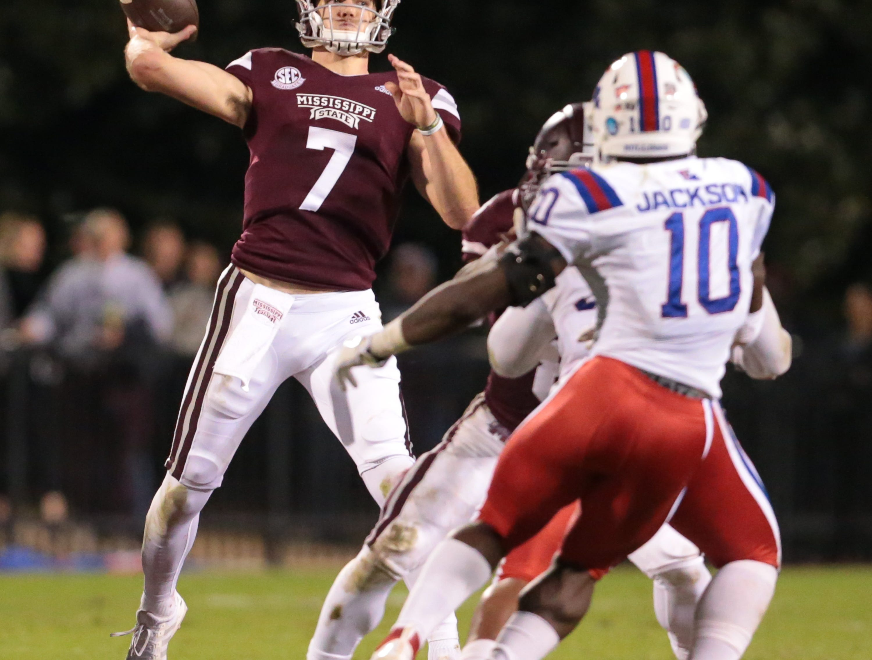 Mississippi State's Nick Fitzgerald (7) releases a pass in the second quarter. Mississippi State and Louisiana Tech played in a college football game on Saturday, November 3, 2018, in Starkville. Photo by Keith Warren/Madatory Photo Credit