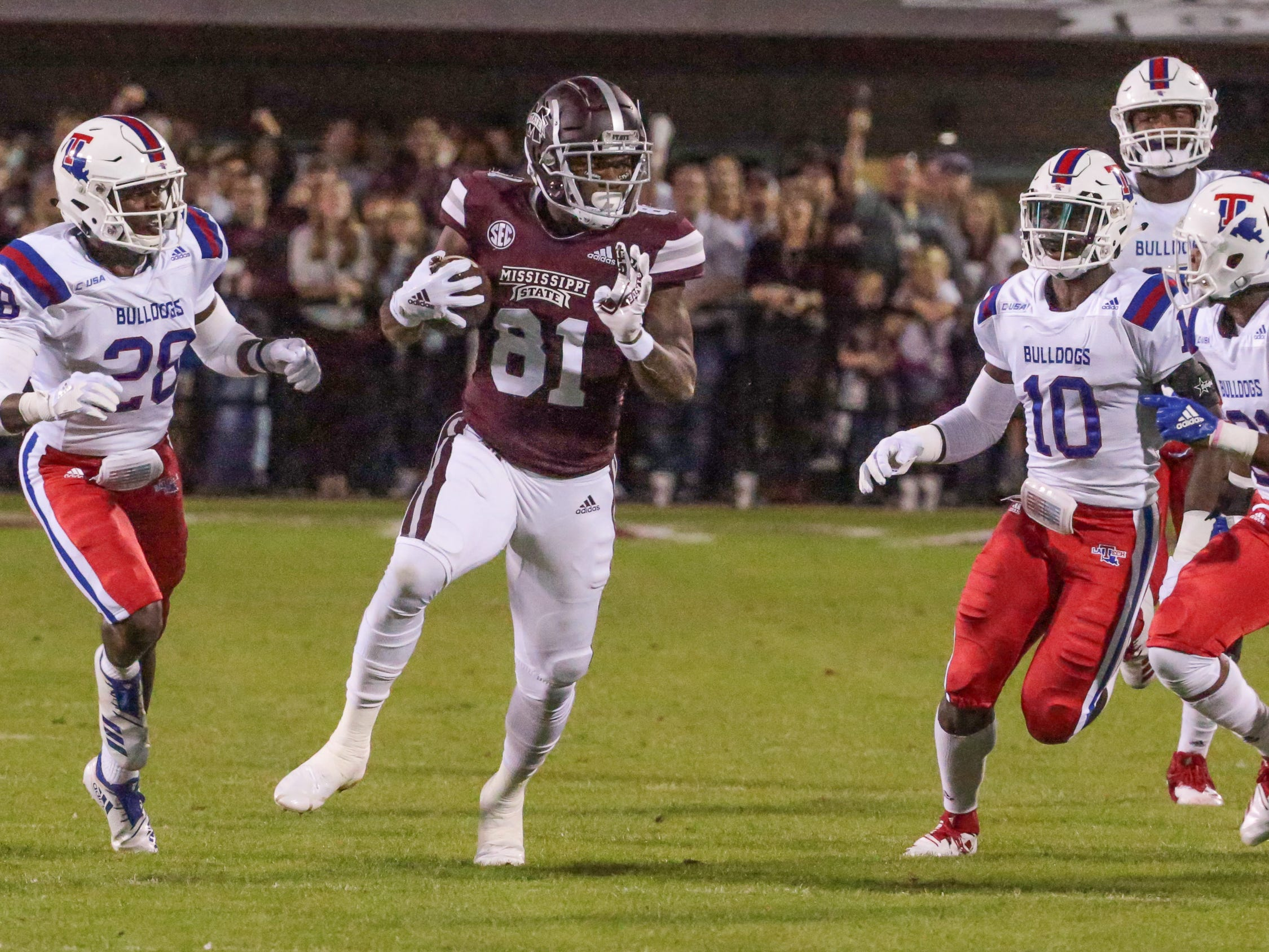Mississippi State's Justin Johnson (81) picks up a big gain on the first possession of the game. Mississippi State and Louisiana Tech played in a college football game on Saturday, November 3, 2018, in Starkville. Photo by Keith Warren/Madatory Photo Credit
