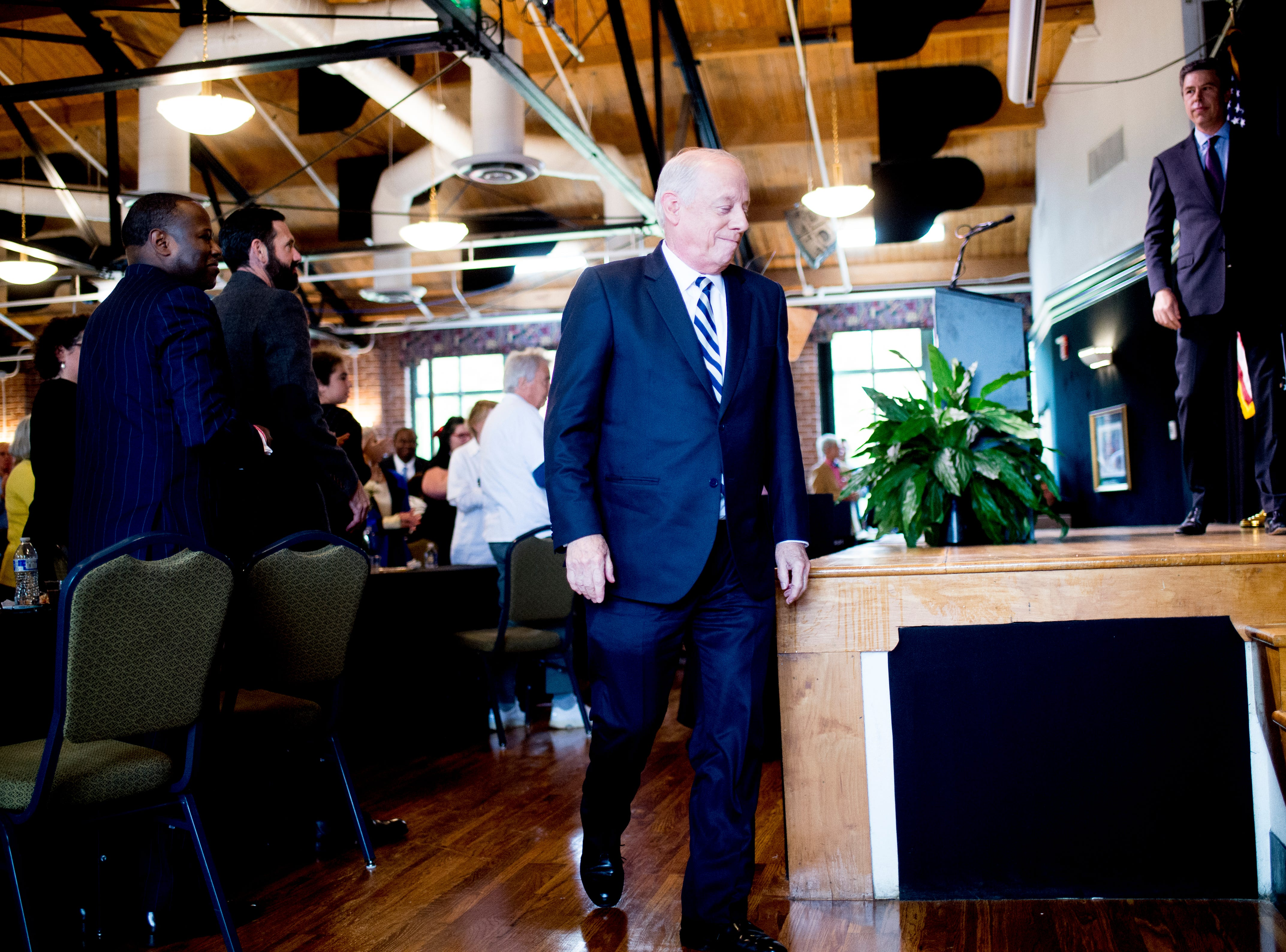 "Former Governor Phil Bredesen walks on stage during an ""Doing Better Together"" Interfaith Lunch at the Bessie Smith Cultural Center in Chattanooga, Tennessee on Sunday, November 4, 2018. Former Governor Phil Bredesen, candidate for U.S. Senate, hosted the event to discuss the future of Tennessee and America."