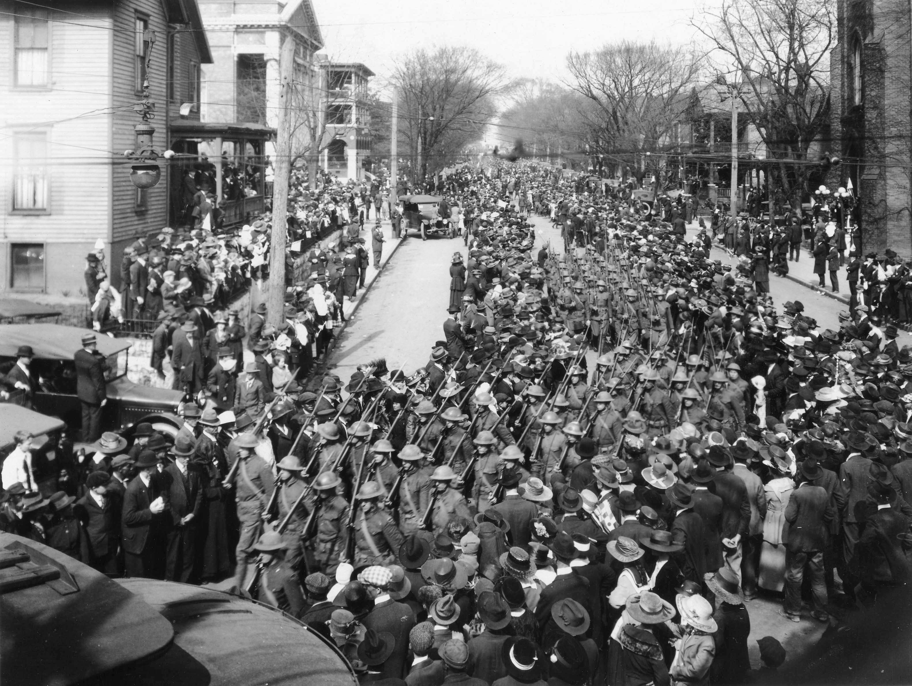A company of the 117th Infantry marches in the April 5, 1919 homecoming parade.  (McClung Historical Collection)
