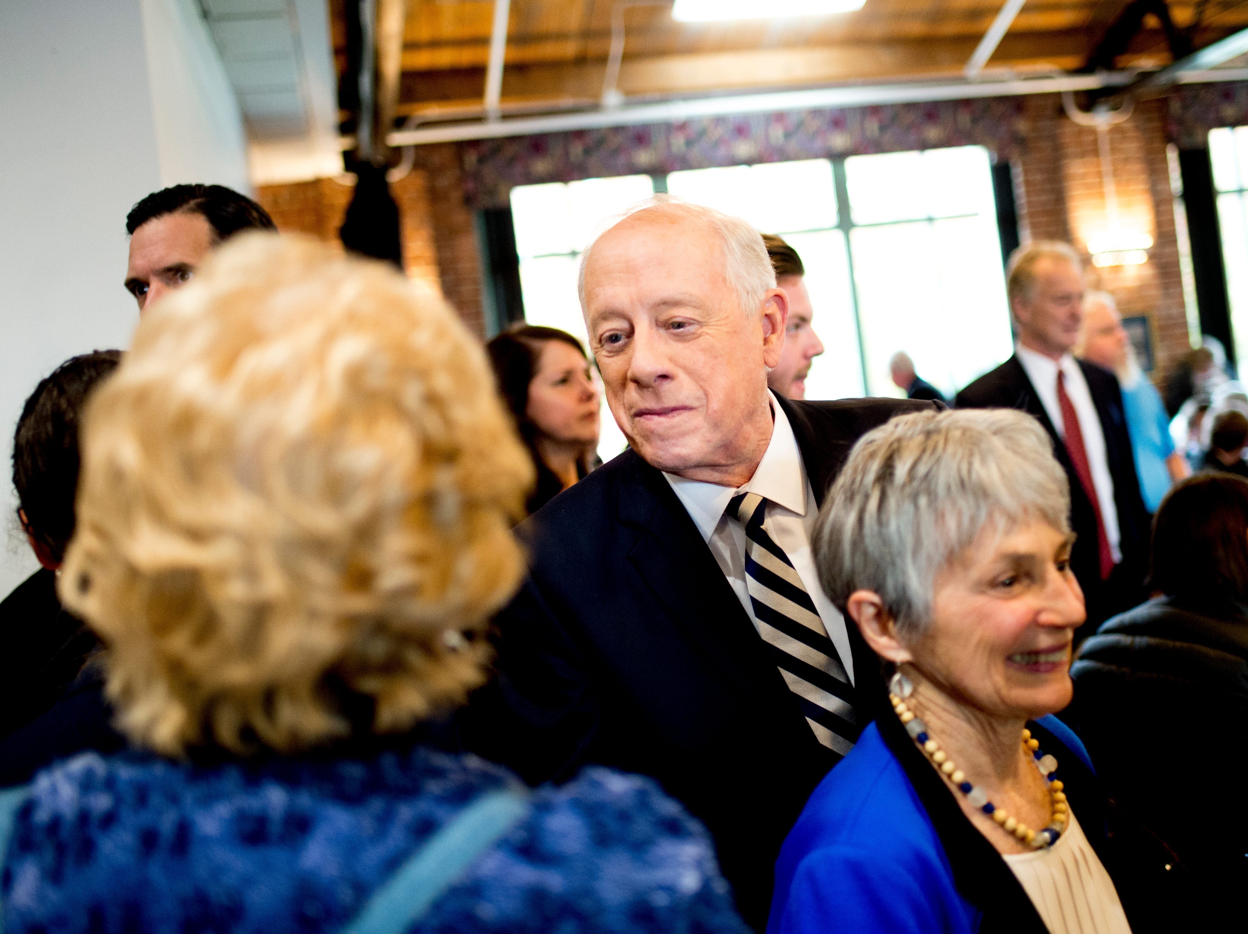 """Former Governor Phil Bredesen greets supporters during an """"Doing Better Together"""" Interfaith Lunch at the Bessie Smith Cultural Center in Chattanooga, Tennessee on Sunday, November 4, 2018. Former Governor Phil Bredesen, candidate for U.S. Senate, hosted the event to discuss the future of Tennessee and America."""