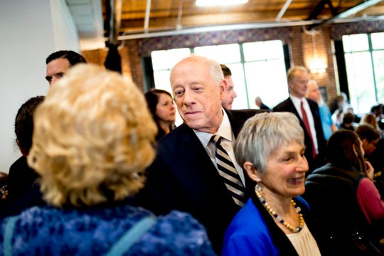 "Former Governor Phil Bredesen greets supporters during an ""Doing Better Together"" Interfaith Lunch at the Bessie Smith Cultural Center in Chattanooga, Tennessee on Sunday, November 4, 2018. Former Governor Phil Bredesen, candidate for U.S. Senate, hosted the event to discuss the future of Tennessee and America."