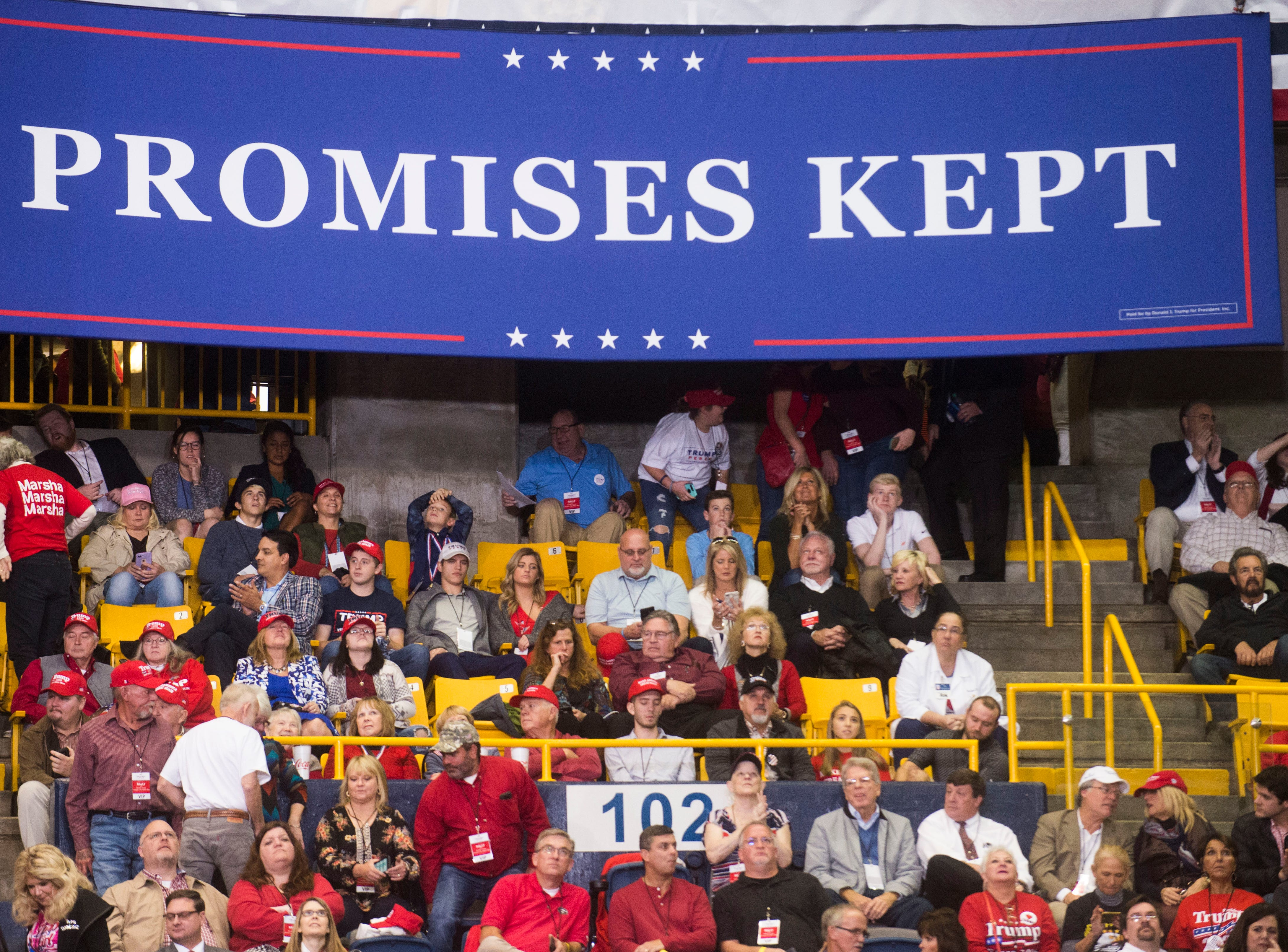 Donald Trump supporters wait before a Donald Trump rally in support of U.S. Rep. Marsha Blackburn for the U.S. Senate at McKenzie Arena in Chattanooga, Sunday, Nov. 4, 2018.