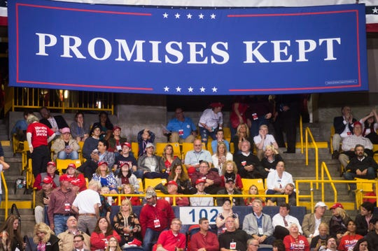 Supporters wait before a Donald Trump rally in support of U.S. Rep. Marsha Blackburn for the U.S. Senate at McKenzie Arena in Chattanooga on Sunday.