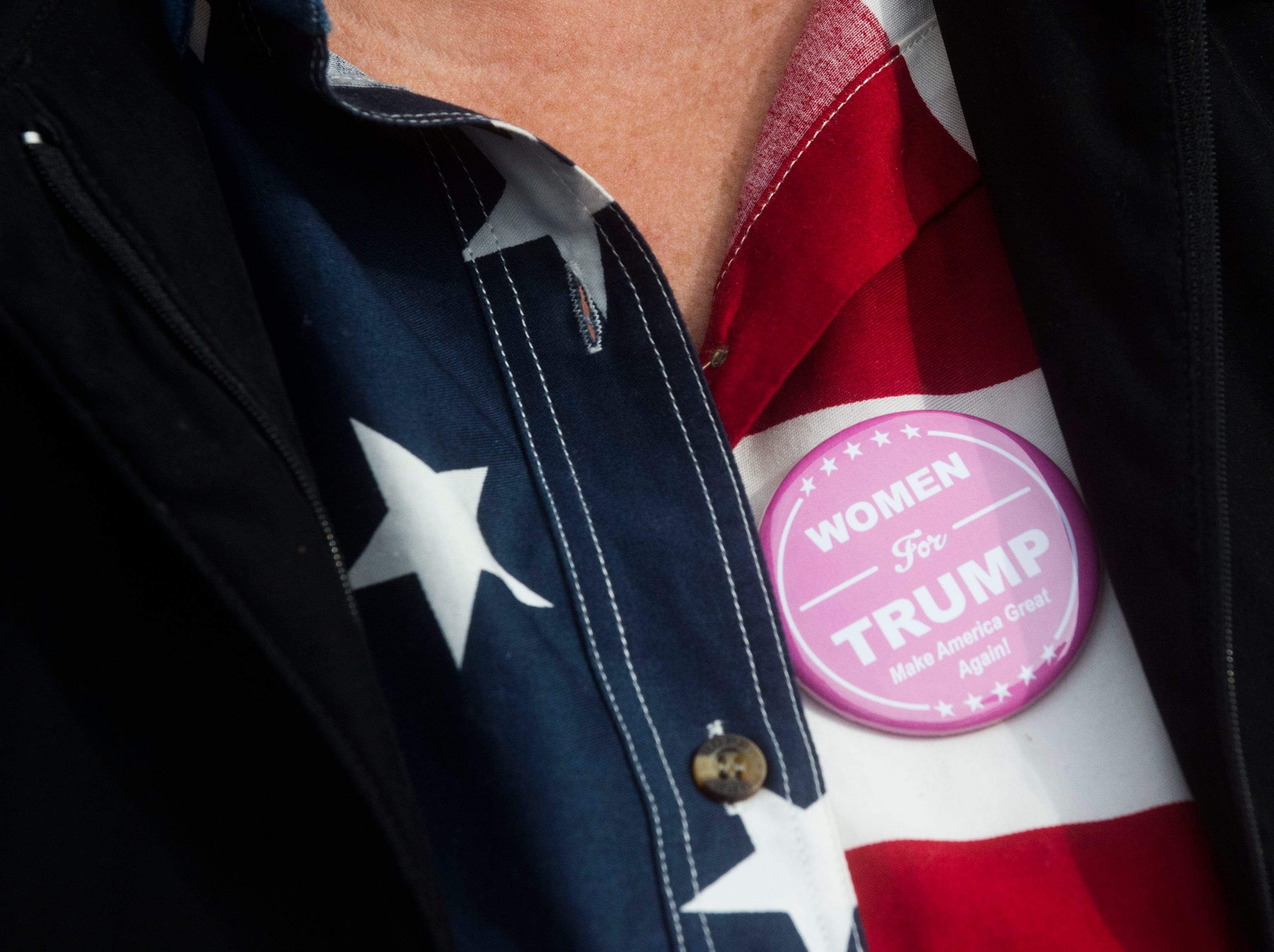 Karen Schooley of Murphy, N.C. stands at the front of the line before a Donald Trump rally in support of U.S. Rep. Marsha Blackburn for the U.S. Senate at McKenzie Arena in Chattanooga, Sunday, Nov. 4, 2018.